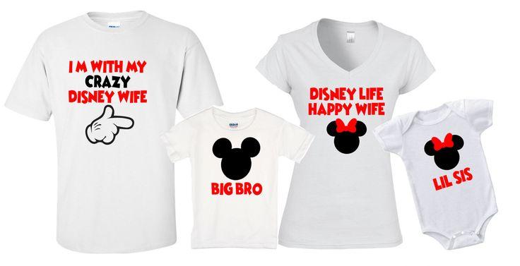 Mickey & Minnie Crazy Disney Wife Group Disneyland Disney Life Happy Wife World family trip vacation - matching shirts tshirts with names by jennisita328 on Etsy https://www.etsy.com/listing/499868068/mickey-minnie-crazy-disney-wife-group