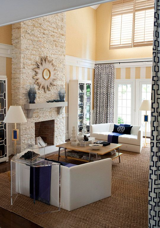 Great idea for vaulted living room ceilings if only it - Does a living room need a fireplace ...
