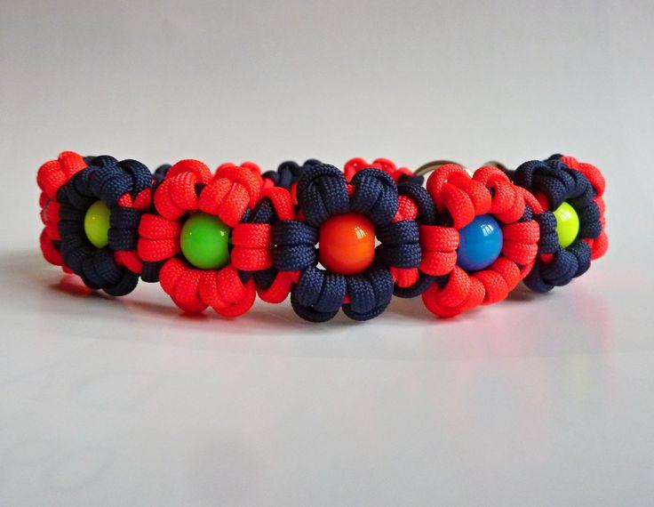 Beaded Aztec Sun Bar - DIY paracord dog collar with colorful acrylic beads