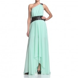 Mono shoulder full dress, side tails and shorter front. Pu leather ornaments on shoulder and waistline. Regular fit. http://shop.mangano.com/en/dresses/16351-abito-desire-borchie-menta.html  #dress #mint #apparel #clothing #woman #stud #mangano