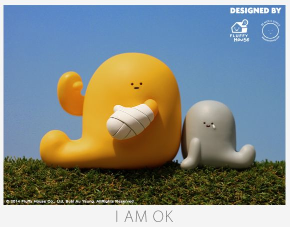 """I AM OK figure set, brought to you by Fluffy House in collaboration with Bubi Au Yeung. It contains a 4.5-inch figure with posable arms and a 2.5-inch buddy. The two figures portray the status of """"OK"""" and """"Not OK"""" respectively. They also represent a complicated state of mind. Sometimes when someone says they are OK, they may not be while sometimes the other way round...""""I AM OK WITH WHO I AM, I LOVE THE WAY I AM, IMPERFECTIONS AND ALL."""""""