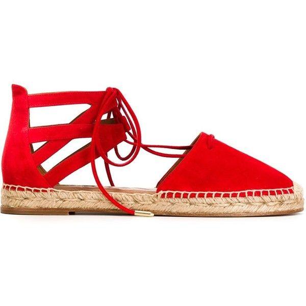 Aquazzura Belgravia Espadrilles ($367) ❤ liked on Polyvore featuring shoes, sandals, red, espadrille sandals, red suede sandals, red sandals, suede sandals and aquazzura
