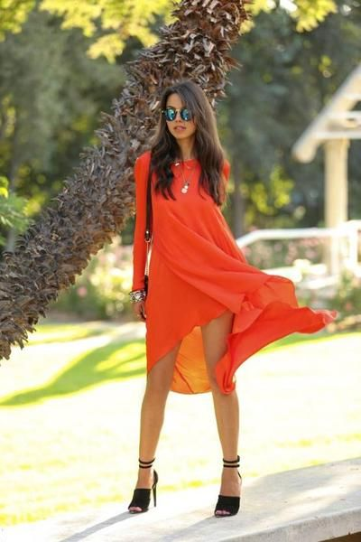 Overview: Orange High Low Swing Dress is chic preppy trendy and perfect for wearing on the weekend wearing to dinner or wearing for a day of shopping! Details: chiffon Size: Small - Bust 86cm, Length