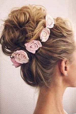 romantic updo bridal hairstyles with flower crown