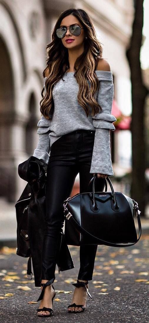 ootd | grey sweater + biker jacket + bag + skinny jeans + heels
