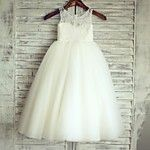 A-line Knee-length Flower Girl Dress - Lace / Tulle Sleeveless Scoop with 2016 - $32.99