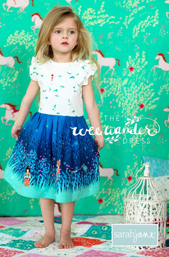Free dress pattern download. Fabric is Wee Wander by Sarah Jane for Michael Miller Fabrics.