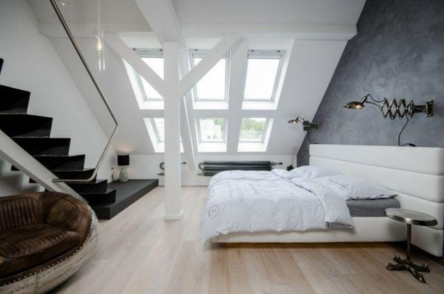 Wohnung Dachschräge Einrichten Ideen Schlafzimmer | Bedroom ... Schlafzimmer Dachboden Einrichten