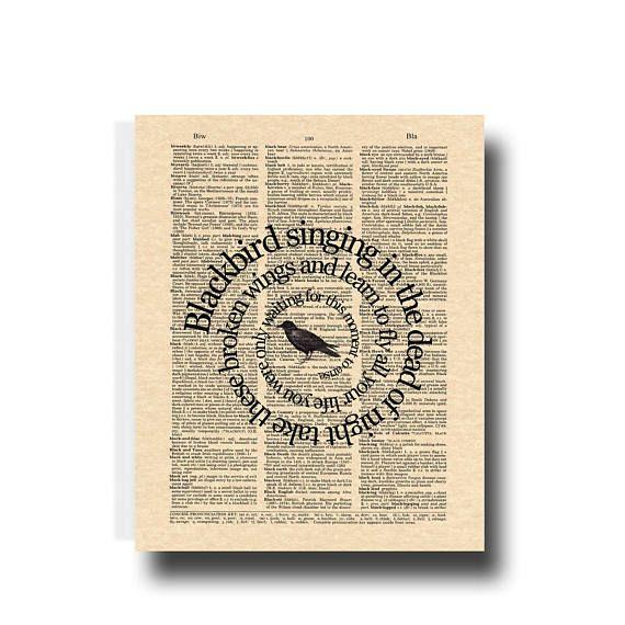 The Beatles Blackbird Song Lyric Art Print Blackbird Song