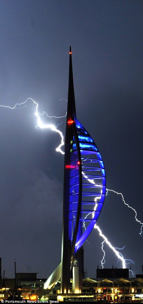 The south coast of England bore the brunt of the thunderstorms with lightning striking Portsmouth's iconic Spinnaker Tower several times during the night