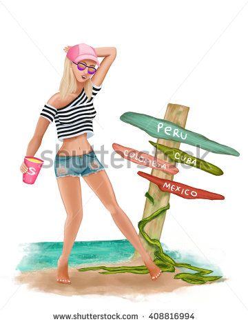 Illustration of a girl with sports hat striped t-shirt, jean shorts and sun glasses, posing next to wood decoration at the beach near the sea, having a soda . Summer vacations.