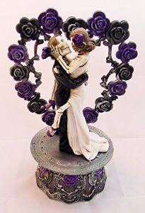 Wedding Party Reception Cake Topper Day of the Dead Skeleton Gothic Purple by Designs by Regina New Design