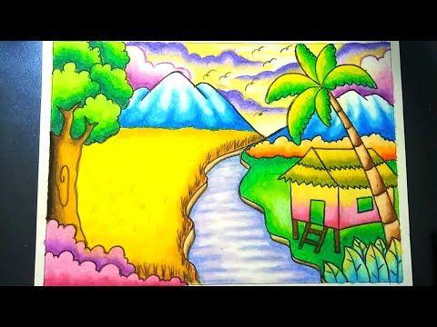 Menggambar Dan Mewarnai Pemandangan Alam Sawah Dan Gunung Dengan