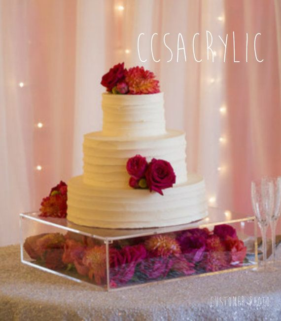 """Clear Acrylic Cake Stand (Platform) 1/4"""" thick -- Additional sizes now available -- {See Shop for Personalization Options}"""