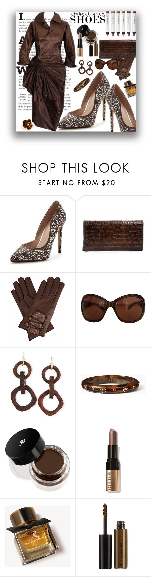 """Embellished Shoes"" by marionmeyer ❤ liked on Polyvore featuring Carvela, Gizelle Renee, Giorgio Armani, Nest, Kate Spade, Lancôme, Bobbi Brown Cosmetics, Burberry, Illamasqua and Ceil Chapman"