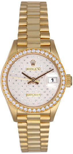 Rolex President Ladies 18k Gold Watch Pleiade Diamond Dial 69178