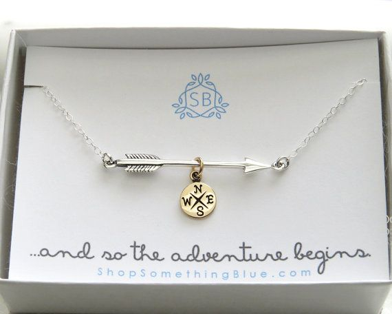Graduation Gift  Arrow and Compass Necklace  Traveler Gift