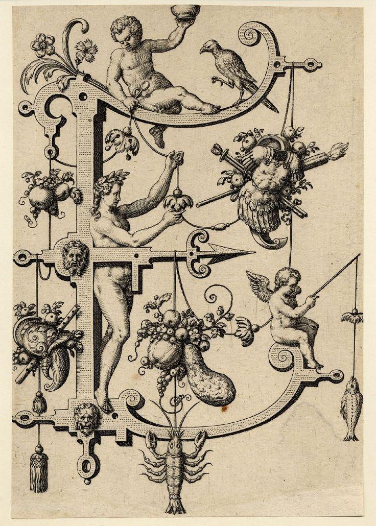 Nova Alphati effictio; Johann Theodor de Bry (Print made by); E; letter of the alphabet with Esau wearing a wreath, a trophy with armour