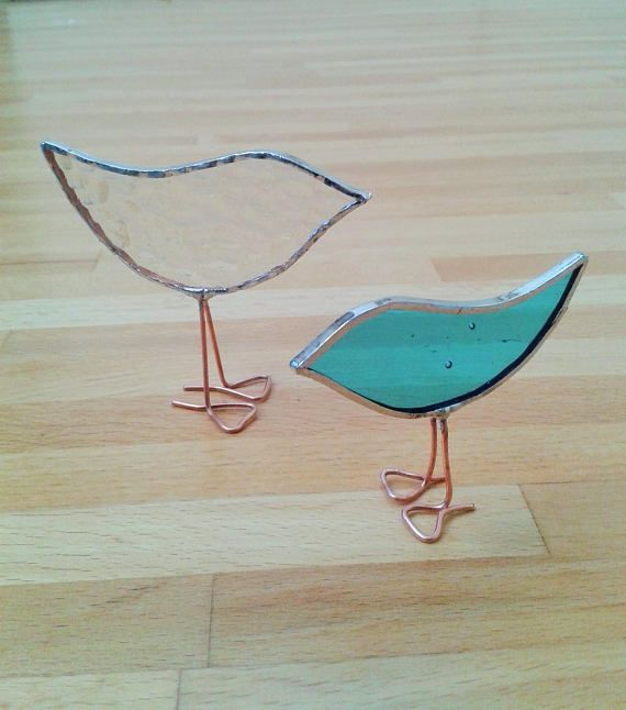 Turquoise Glass Stained Glass Standing Baby Bird Ornament.