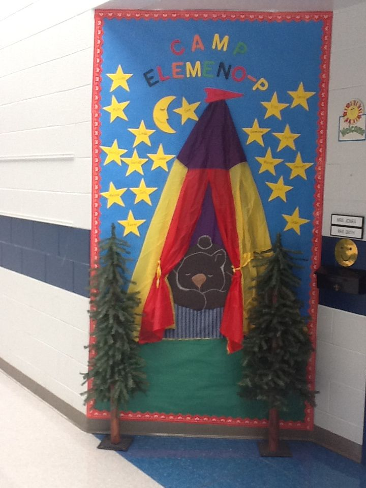 Thanksgiving Classroom Door Decorations Ideas ~ Preschool camping bulletin board theme