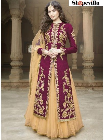 Magenta Colour Heavy Embroidery Bangalore Silk Lehenga Style Suit-1506-Green