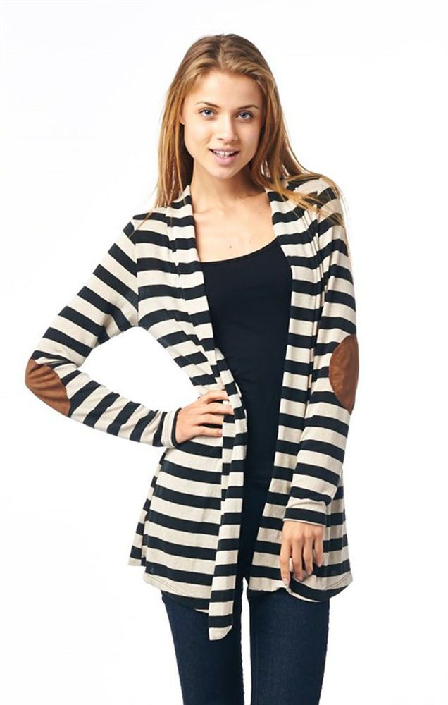 Striped Cardigan Elbow Patch Knit Sweater Black White S M L New ...