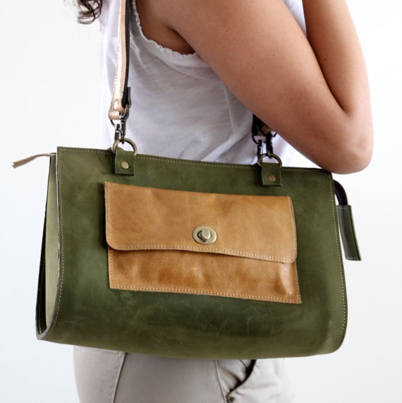 Leather women bag, tote bag, olive, camel, purse,shoulder bag, zipper closure, 2 straps,turn lock closure. $199.00, via Etsy.