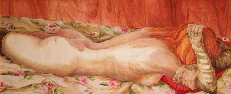 Barbara Gatti Cocci - Titolo - In posa riposa - olio e pastelli a olio su tavola - cm 120 x 51 - anno 2013