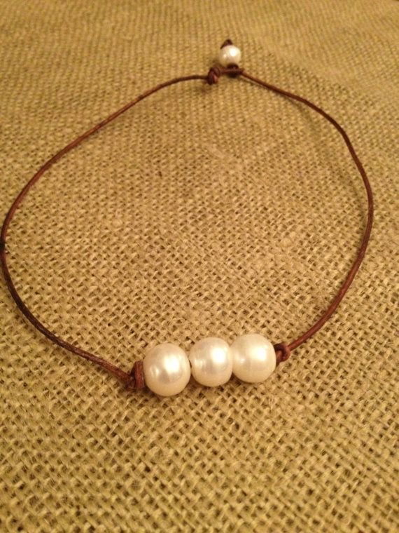 Triple Pearl Leather Necklace by perfectnpearls on Etsy, $20.00...shipped from Norcross, GA!!