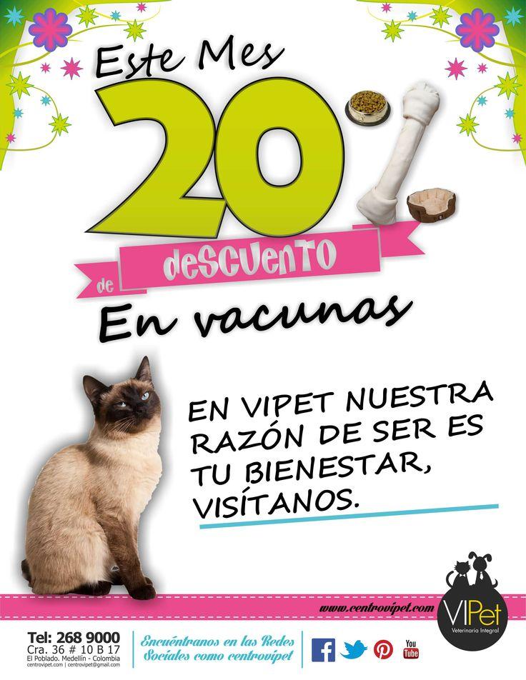 Hola a todos. Durante todo el mes de Agosto continuaremos con nuestro 20% de descuento en vacunas, en VIPet nuestra razón de ser es el bienestar de tu mascota, visítanos y encuentra salud preventiva para tu mascota. Los esperamos! Recuerden buscarnos en las redes sociales como centrovipet.
