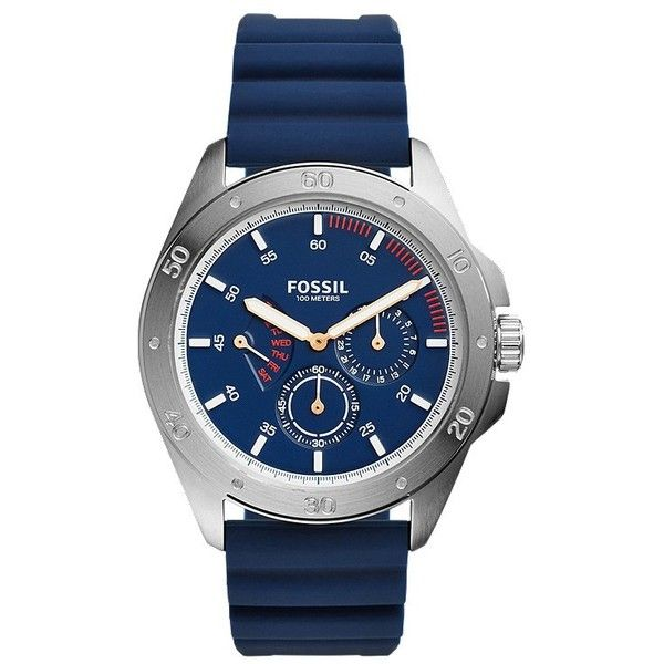 Fossil Sport 54 Multifunction Blue Silicone Watch ($75) ❤ liked on Polyvore featuring men's fashion, men's jewelry, men's watches, mens sport watches, mens blue watches, mens silicone watches, mens sports watches and vintage mens watches