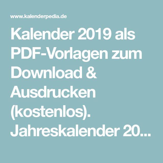 Kalender 2019 Als Pdf Vorlagen Zum Download Ausdrucken Kostenlos