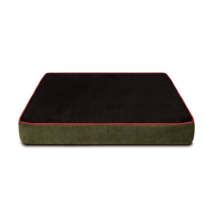 Colorado Mountain Suede Microfiber Cover for Buddy Beds Memory Foam Dog Beds.  Reversible:  This side is black with red piping.