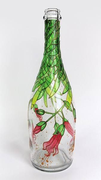 Hand painted bottle - cool upside-down design!