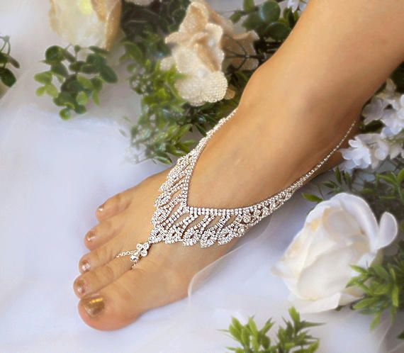 Wedding Rhinestone Foot Jewelry,Bridal Barefoot Sandal,Silver,Gold Sandals,Footless Sandals,Beach Sandals,Bridesmaid barefoot Sandals-SD042