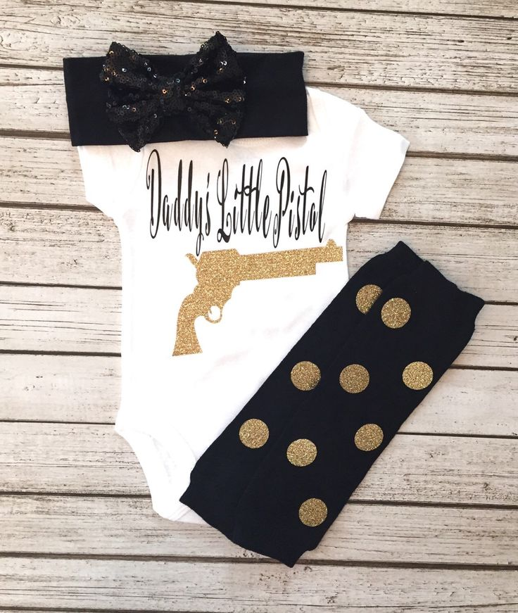 A personal favorite from my Etsy shop https://www.etsy.com/listing/279867230/baby-girl-bodysuit-daddys-little-pistol