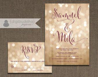 Gold and Blush Bokeh Wedding Invitation printed on by encrestudio