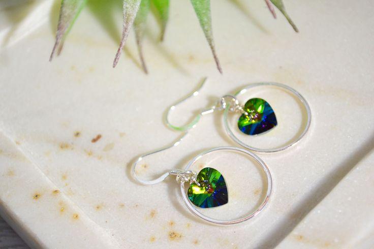 Emerald Green Crystal Earrings, Swarovski Crystal Heart Earrings, Crystal Prom Earrings, Sparkly Crystal Green Earrings, Green Crystal Hoops by ESBeadworks on Etsy