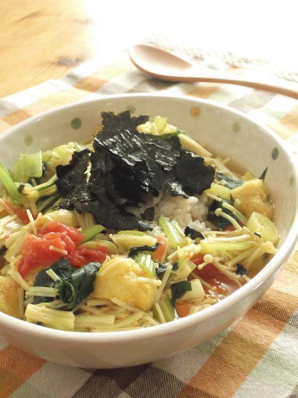 発芽米入りご飯に、野菜たっぷりのカレースープをかけました。トマトと薄揚げがポイントです! 材料 1人分 発芽米入りご飯 1膳分 えのきだけ 100g 小松菜 1株 長ネギ 1/2本 トマト(中玉) 1個 薄揚げ 1枚 ☆ …