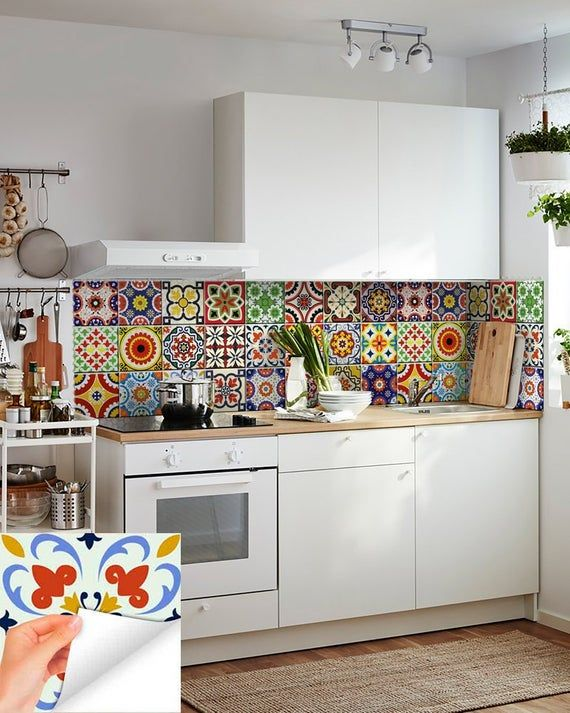 Diy Set Of 24 Vintage Mural Mexican Tiles Decals Bathroom Stickers