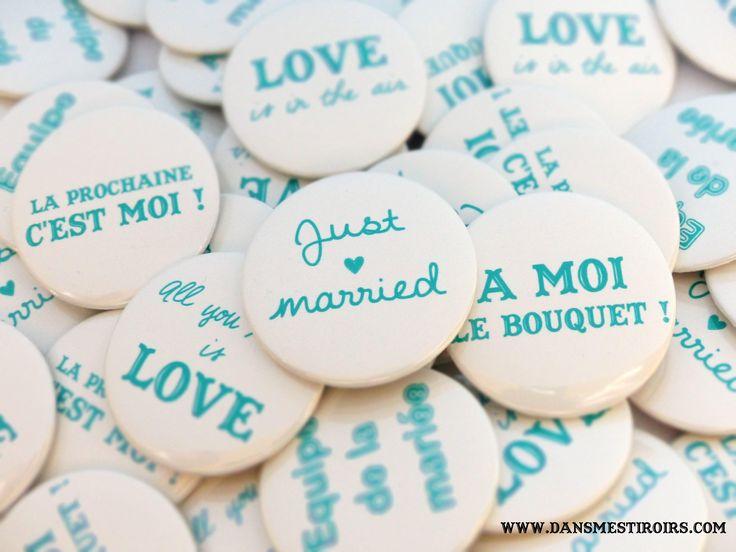 Badges personnalis s pour mariage anniversaire bapt me for Badge fait maison