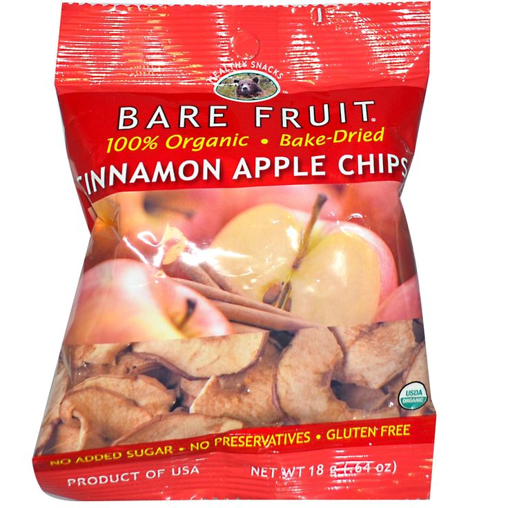 Bare Fruit, Cinnamon Apple Chips, .64 oz (18 g) $0.86 ● An apple in every bag. Source of fiber. Good source of antioxidants.