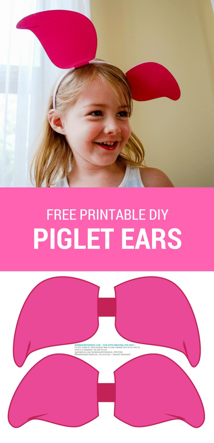 Make a DIY Piglet headband using these free printable Piglet ears for your own Hundred Acre Woods celebration. Free printable Tigger ears   Free printable Winnie the Pooh ears   Free printable Piglet ears #spon