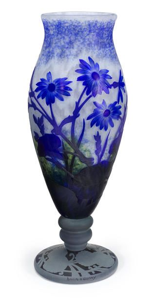 Daum Nancy applied cameo glass Cornflower vase, circa 1900
