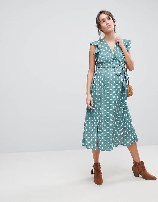 aa3b807eb4c Glamorous Bloom Sleeveless Midi Dress With Flutter Sleeves In Polka Dot