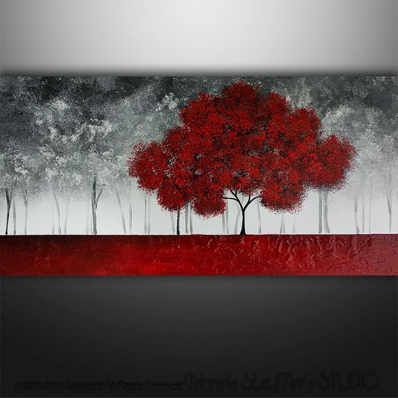 Abstract Painting Art Original Landscape Trees by by Catalin, $225.00