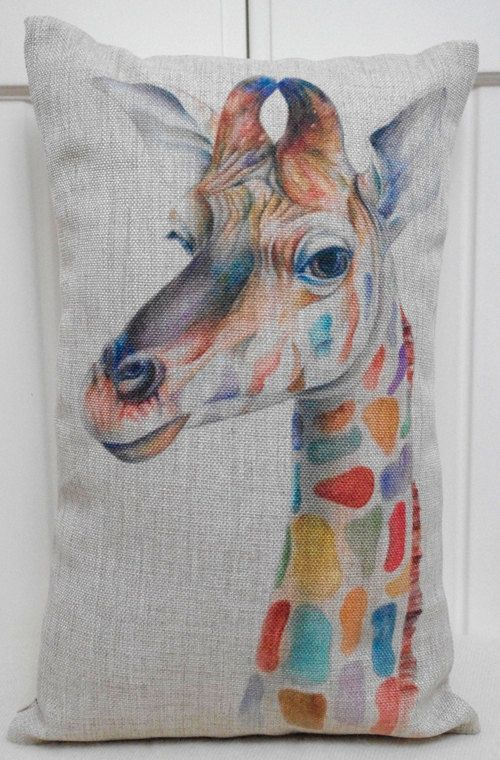 Colourful giraffe cushion - awesome Etsy listing at https://www.etsy.com/listing/168032760/cushion-cover-creative-cushion