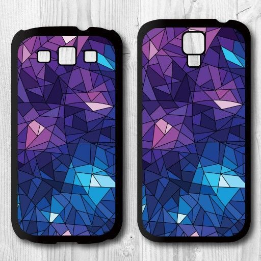 Abstract Purple Geometric Print Protective Phone Case for Samsung Galaxy S3 I9300/S4 I9500/S5 I9600/S6 G9200