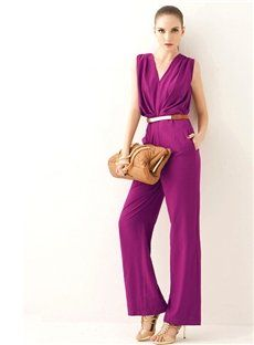 Noble Smart Rose V-neck Sleeveless High Quality Long Jumpsuits