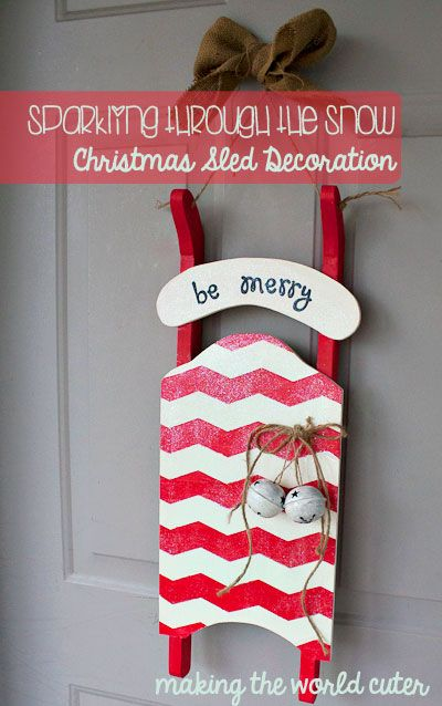 Sparkling through the Snow | Christmas Sled Decoration - Making the World Cuter - holiday DIY using Mod Podge - click thru for the full tutorial!